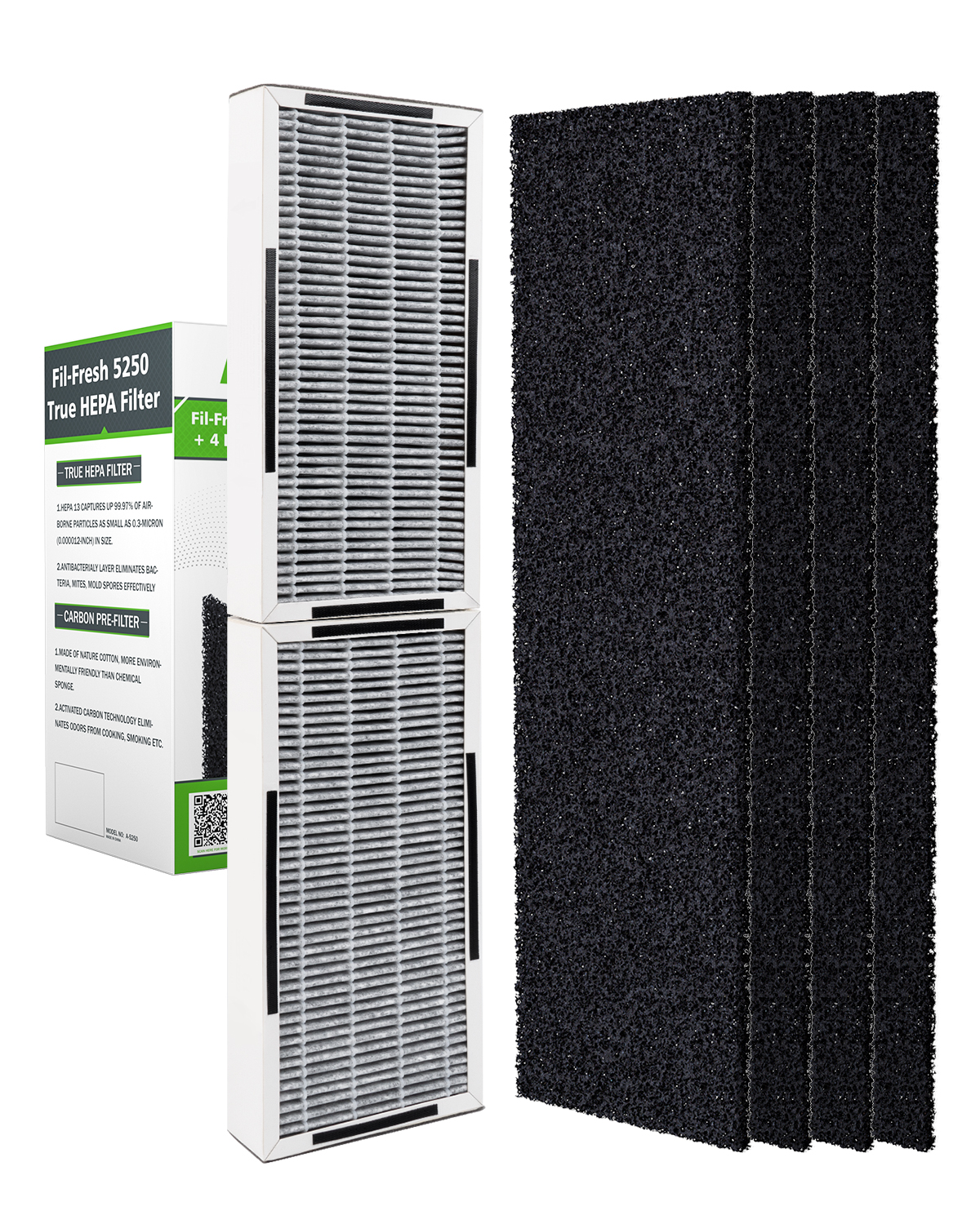 Fil-fresh High-Efficiency HEPA Filter FLT5250PT, 1 Pack Carbon HEPA Filter with 4 x Pre-Filters Compatible with Germ Guardian AC5250PT Air Purifier, 12-Month Advanced Replacement Kit