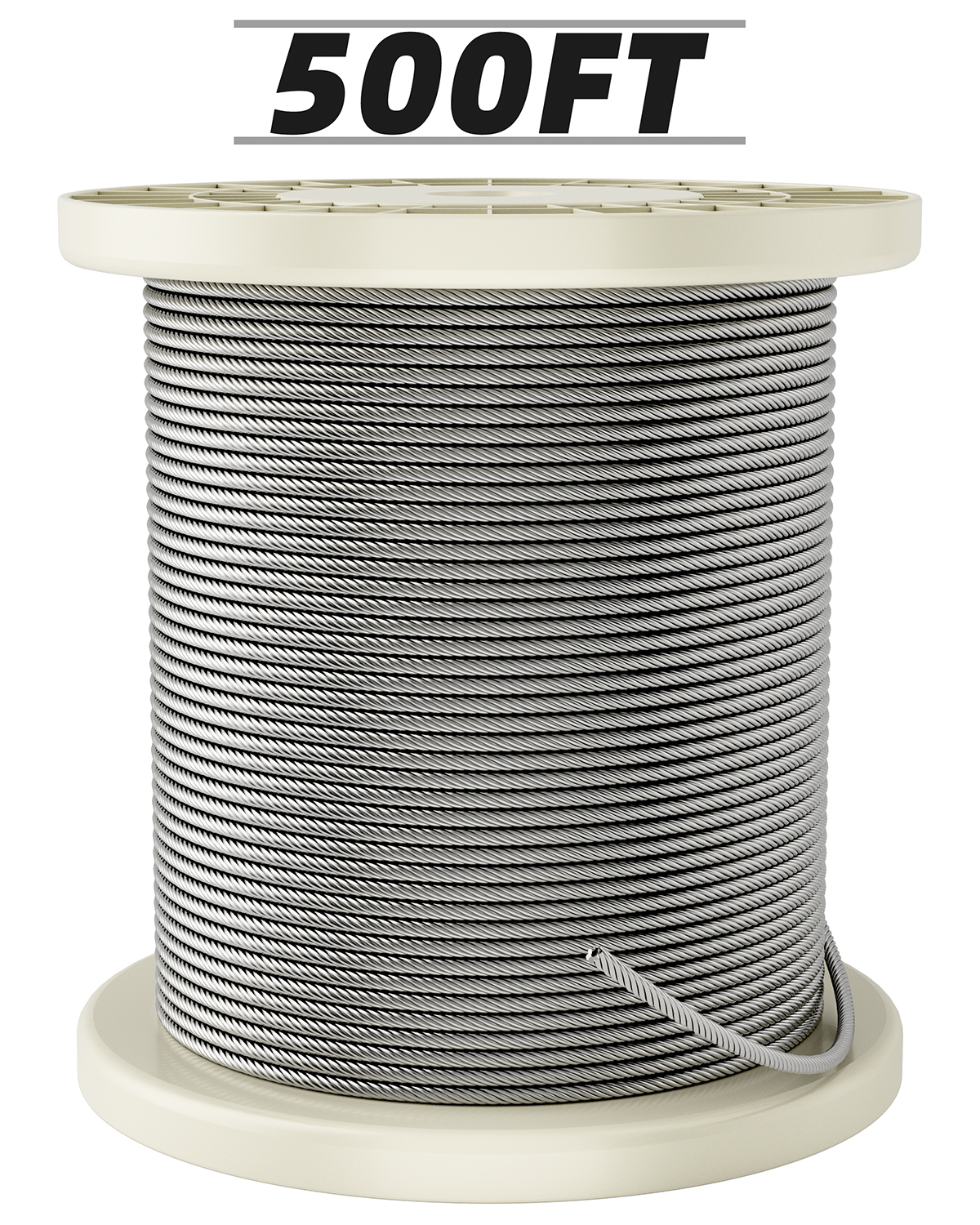 Fil-fresh 500FT 1/8 Stainless Steel Braided Cable, T316 Aircraft Cable for Deck Railing, 7 x 7 Strands Construction