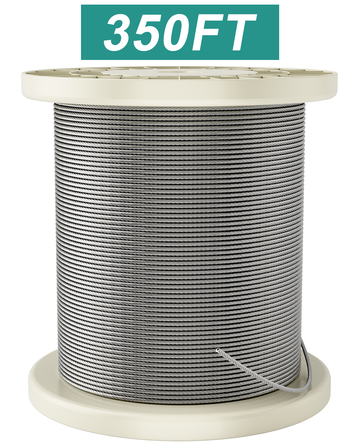 Fil-fresh 1/16 Stainless Steel 350FT, T316 Aircraft Cable Railing Kits for Wood Posts, 7 x 7 Cable Railing Hardware